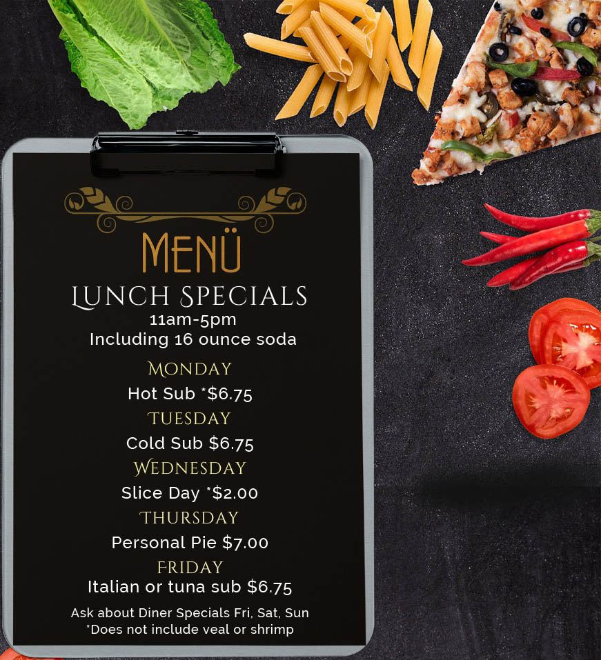Promotions Coupons Lunch Specials Federicos Pizza Belmar NJ Monmouth County